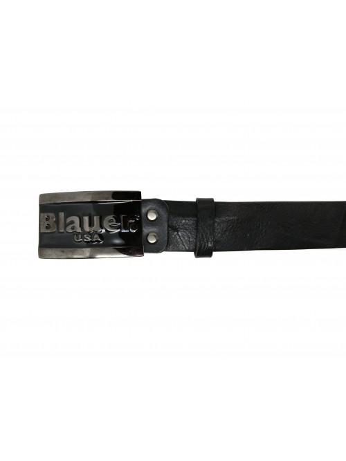 Blauer Cintura Uomo Logo Lucido Cromo Scuro/Nero
