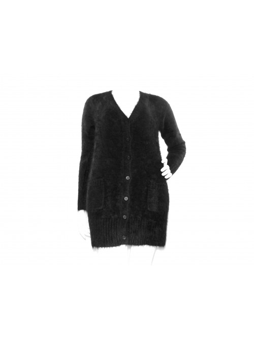 Karl Lagerfeld Maglia Cardigan Donna Nero Mod. KARMAGD 1376 Lunga Nero