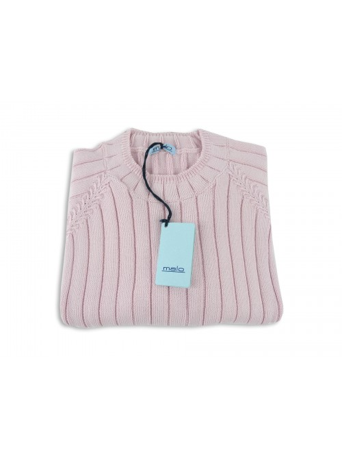 Malo Knitted Woman Mod. Coste Verticale Rose