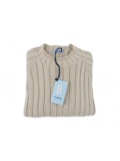 Malo Knitted Woman Mod. Coste Verticale Beige