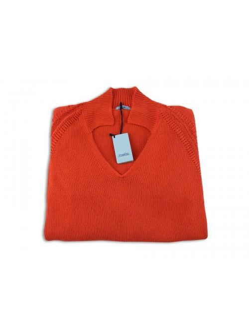 Malo Maglia Donna Mod. Polo scollo a V Orange