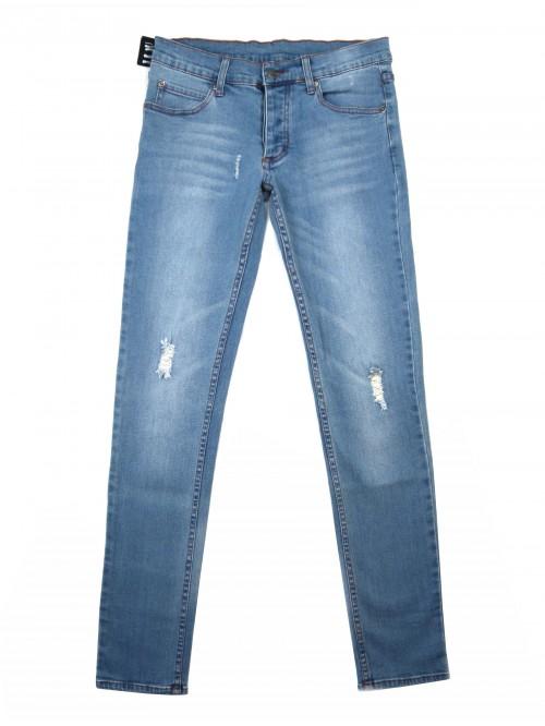 Cheap Monday Unisex Jeans Narrow Hole Blue Buttons