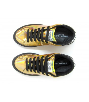 Scarpa Mujer Tango Con Dorado Redondo Slip Toe Modelo Sneakers On lFJcK1T
