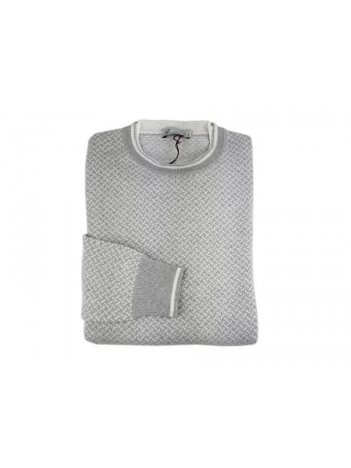 H9 53 Men's Micro-Fantasy Crew-neck Sweater 4 Mod. HC1104 Col 0301 Pearl