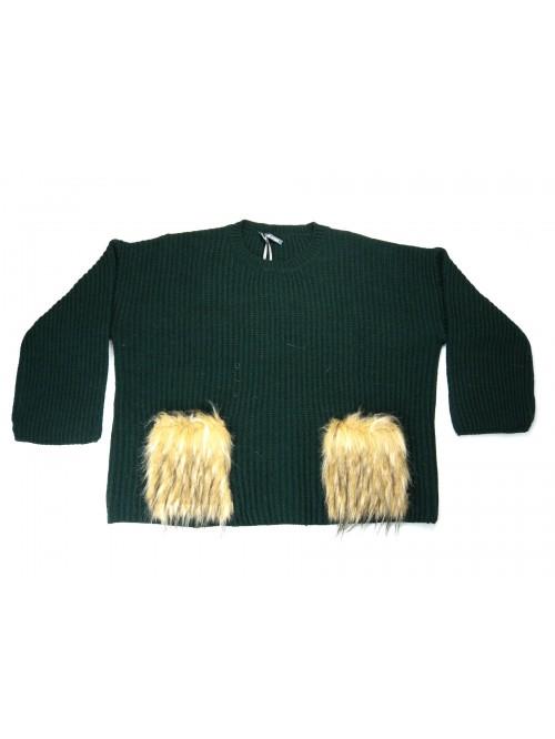 Mia Wish Women's Girogola Sweater Over Green Fur Coat