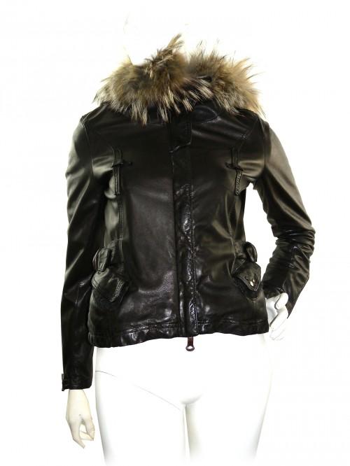 Delan Women's Wool Lined Leather Jacket Dark Brown