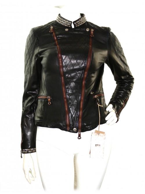 Delan Woman Leather Jacket Nail Biker Dark Brown