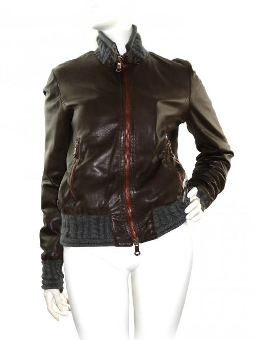 Delan Woman Leather Bomber Jacket Brown / Gray