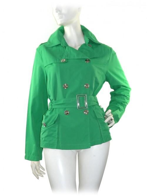 Claudia Gil Woman Jacket Model Short Trench Green