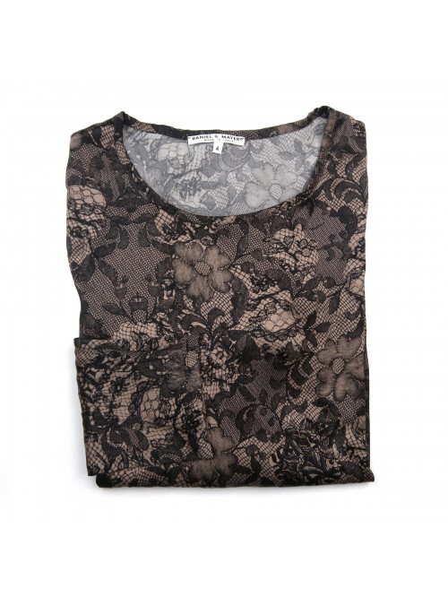 Daniel & Mayer Woman Sweater Mod. Tangeri Black Lace on Taupe
