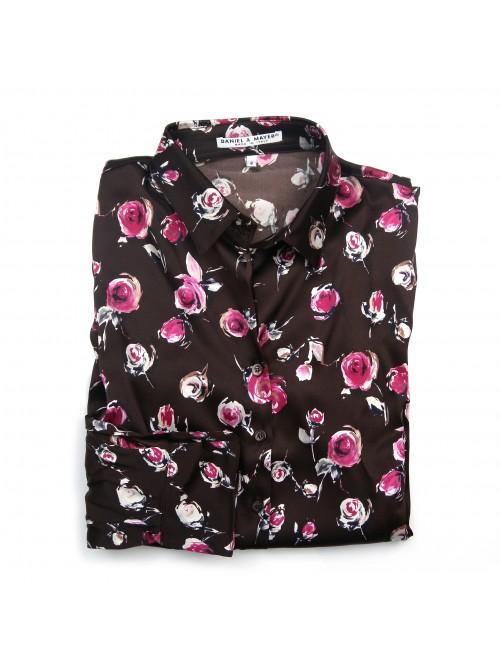 Daniel & Mayer Woman Shirt Mod. Camogli Floral Dark Brown