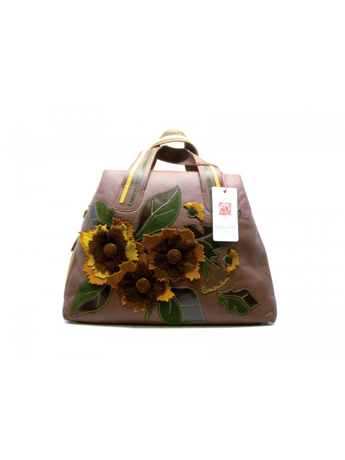 94260bd0a4 Woman bag blueberry line with overlapping flowers in contrasting suede  leather