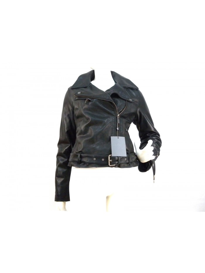 new product ca6e1 859e4 Giacca donna modello chiodo con stringhe retro maniche e centro spalle